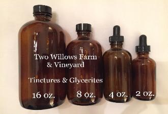 Two Willows Farm and Vineyard Tinctures and Glycerites in Amber Bottles